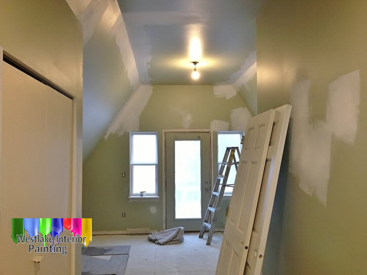For the guest bedroom we started out by preping the walls, ceiling and trim. We then gave the ceiling new ceiling paint and the trim and doors a semi gloss finish. We then followed this up by giving the walls a welcoming flat finish.