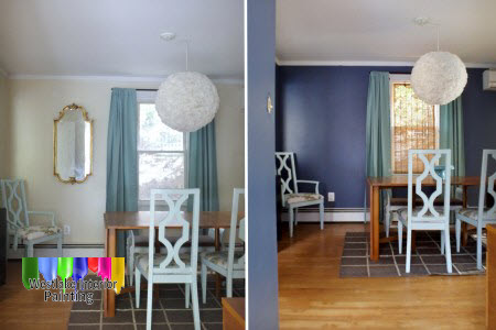Dining Room – After doing some prep work we applied a fresh coat of ceiling paint to the ceiling followed by two coats of flat paint.