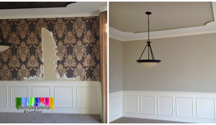 In the dining room we started off by removing all the wallpaper throughout the room. We then did some prep work to the walls, ceiling and trim. After the prep work was done we gave the trim a new flat finish and the walls and ceiling the same neutral color flat finish.