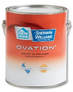 HGTV HOME™ by Sherwin-Williams Ovation® Interior Latex 5 Reviews Write a review  Ovation® Interior Paint & Primer with ScrubSure Technology was formulated to be extremely scrubbable and stands up to repeated washing and scrubbing. It's smooth-glide formula provides great coverage with minimal brush and roller marks. This ultra durable Paint and Primer in One will keep your home looking beautiful.